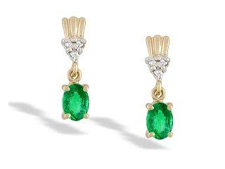 14K Yellow Gold Genuine Oval Emerald and Diamond Dangle Drop Earrings