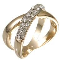 14k Gold Bonded Double Band Eternity Ring with Prong Set Round Cut Clear CZ in Goldtone