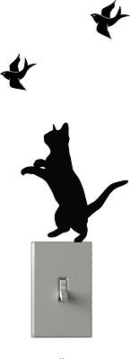 Cat Chasing Birds - Light Switch Decals - Custom Vinyl Wall Art - Made In USA color matte black
