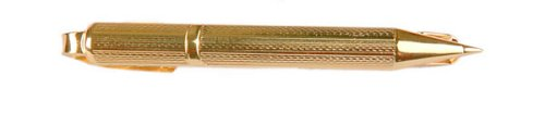 Stunning yellow gold plated ballpoint pen design tie clip with presentation box