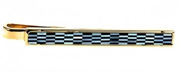 Full Mother Of Pearl & Onyx Chequered Gold Tie Slide
