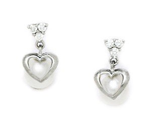 14ct White Gold White 5x5mm Freshwater Cultured Pearl and CZ Heart And Drop Screwback Earrings
