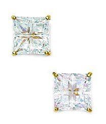 14k Yellow Gold 6x6mm 4 Segment Square CZ Basket Set Earrings - JewelryWeb