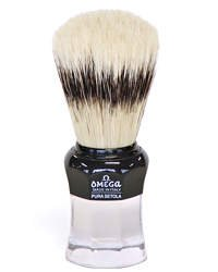 Omega Black n Clear Boar Hair Shaving Brush with Stand- Made in Italy