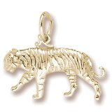 Rembrandt Charms, Tiger Charm, 22K Yellow Gold Plate on .925 Sterling Silver