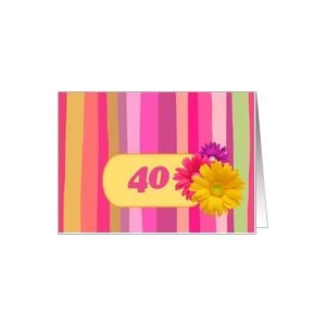 Invitation.40th Birthday Party. Colorful Design Card :
