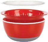 Oxo 3 Piece Bowl Colander Set Medium Red 719812079189