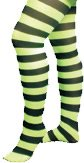 Just For Fun Striped Tights (Child Size) - Neon Green With Black Stripes