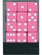 Pink Dice with White Pips - 1 Dozen