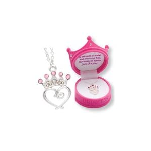 D.M. Pink Petite Princess Crown Necklace in Figural Gift Box
