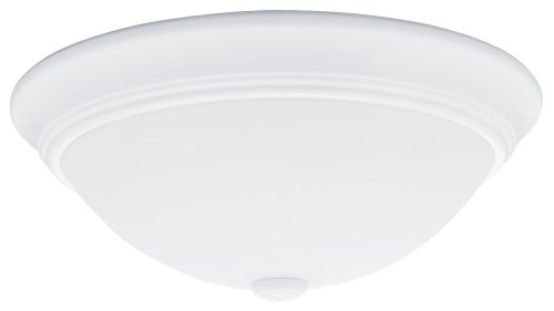 Lithonia Lighting One-Light Fluorescent Flush-Mount Ceiling Fixture, White Globe #11982 Wh R4