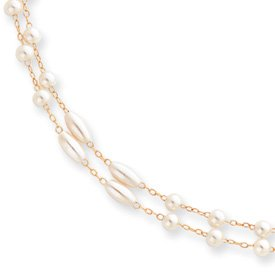 Gold-plated Two Strand Glass Pearl Necklace - 18 Inch - JewelryWeb