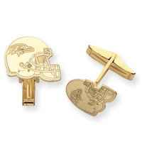 14K Baltimore Ravens Helmet Cuff Links - JewelryWeb