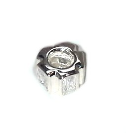 .925 Sterling Silver Pandora Charm with Rectangular Stones