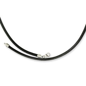 3.00 Genuine Leather Greece Textured Necklace - 18 Inch - JewelryWeb