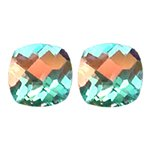 3.50 Cts of AAA Cushion Checker Board Matching Loose Mercury Mystic Topaz ( 2 pcs set ) Gemstones