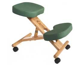 Wooden Posture Kneeling Fabric Chair Green - Color: Green