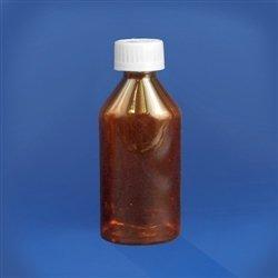 Amber Oval Pharmacy Bottles, Child Resistant Caps, 4 oz