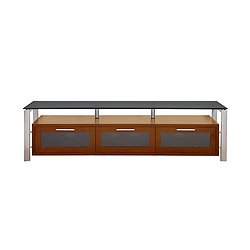 Image of 71-in Decor Walnut with Silver Metal and Black Glass TV Stand (Decor 71 (W)-S-BG)