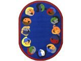 "Joy Carpets Kid Essentials Early Childhood Oval Joyful Faces Rug, Blue, 10'9"" x 13'2"""