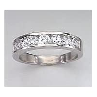 Round Cubic Zirconia CZ Two Carat Wedding Band - Size 8.0 - JewelryWeb