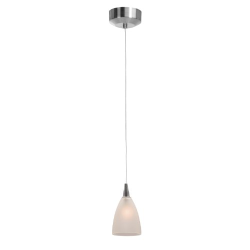 Access Lighting 94019Led-4-Bs/Fst Zeta Mania   One Light Led Canopy Pendant With Frosted Glass Shade, Brushed Steel Finish