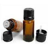 Amber Glass Bottle w/Euro dropper, Black Cap 1oz (30ml)