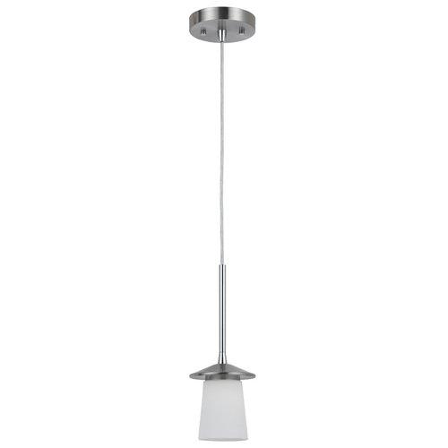 Bel Air Lighting Brushed Nickel Mini Pendant Light With White Shade Led Mini Pendant Item #55233 Model# P4477-1Mp Upc#736916596084