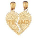 CleverEve 14K Yellow Gold Two Pieces 'Te Amo' I Love You in Heart Left & Right Pendant 2.4 Grams