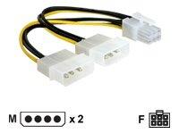 DELOCK Kabel Stromversorgung 2x 13.3cm 5,25Z 1x 6pol.
