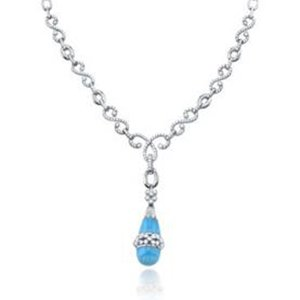1 3/4 Carat Diamond & Turquoise 14k White Gold Antique Style Necklace