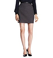 Autograph Linear Striped Textured Mini Skirt with Wool