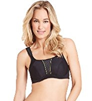 Extra High Impact Striped Underwired Sports A-G Bra