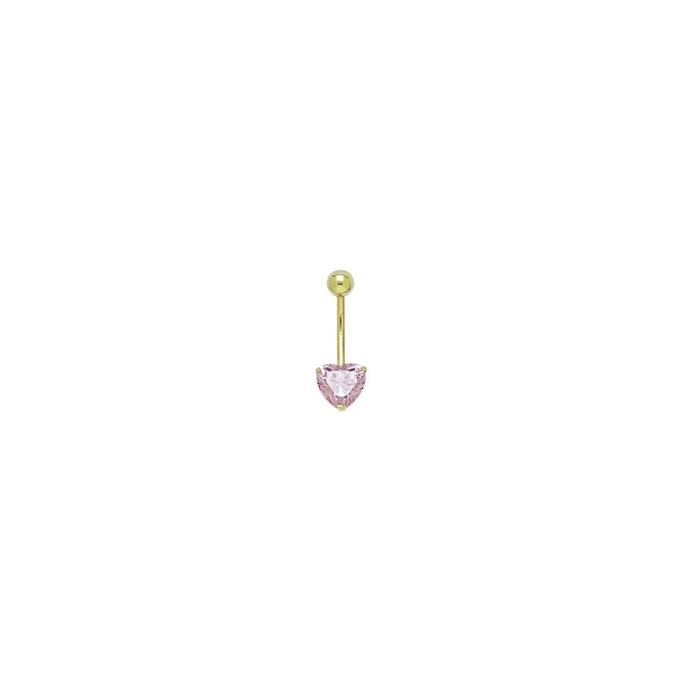 14k Solid Gold Pink Heart Belly Ring