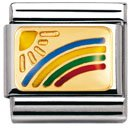 Nomination Composable Classic Daily Life Rainbow Stainless Steel, Enamel and 18K Gold