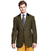 Sartorial Luxury Pure Wool 2 Button Checked Velour Jacket
