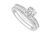 Diamond Engagement Ring with Wedding Band Set 14K White Gold - 0.75 CT Diamonds MADE IN USA