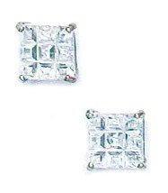 14k White Gold 5x5mm 9 Segment Square CZ Basket Set Earrings - JewelryWeb