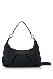 Coach F19766 Black Grey/Black Ashley Signature Convertible Hobo Handbag