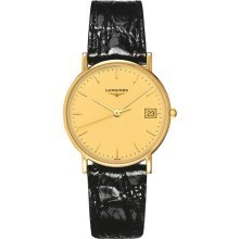 Longines La Grande Classique Champagne Dial 18kt Yellow Gold Black Alligator Leather Mens Watch L47436322