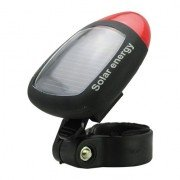 Solar Energy Rechargeable Tail Light Flashlight for Bicycle-Black