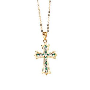 Gold Plated Sterling Silver 0.01 ct. Diamond with Alternating Emerald Cross Pendant with Chain