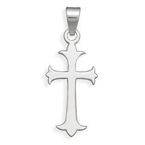 316l Stainless Steel Cross Pendant With Fleuree Ends Measures 4mm X 19mm Charm - JewelryWeb