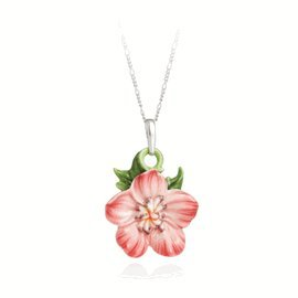Franz Geranium Flower Rhodium Porcelain Necklace