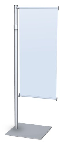 "Premium Aluminum Counter Top Mini Banner Stand Display With Adjustable Height. 12"" Wide Single Wing, Slide-In Design. Color: Silver. Made In Usa."