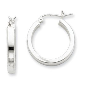 Genuine IceCarats Designer Jewelry Gift Sterling Silver Rhodium-Plated Square Tube Hoop Earrings