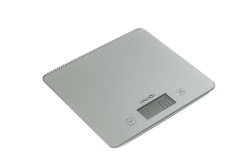 Hanson H1040 5 Kg Large Electronic Kitchen Glass Scale with Liquid Measurement, Silver