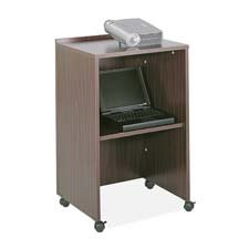 "Safco Products Company Products - Lectern/Media Stand, 21-1/4""x17-1/2""x33-3/4"", Medium Oak - Sold as 1 EA - When used with Safco tabletop lectern, lectern/media stand creates a 45"" high, mobile lectern with storage. When used alone, it is a mobile media stand for TV/VCR or projector. The 5/8"" furniture grade wood has a stain-resistant and scratch-resistant laminate finish. Design includes a 19-1/2"" wide x 15-3/4"" deep shelf. Stand holds 50 lb. per shelf. Mobile on four 2"" swivel casters (two loc"