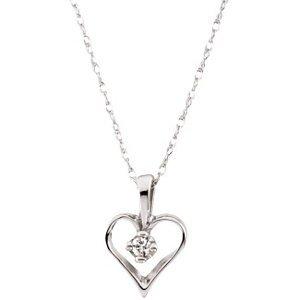 Genuine IceCarats Designer Jewelry Gift 14K Yellow Gold Diamond Heart Pendant W/Chain