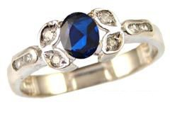 14k White Gold, Classic Design Dainty Ring with Lab Created Oval Shape Navy Blue Colored Stone